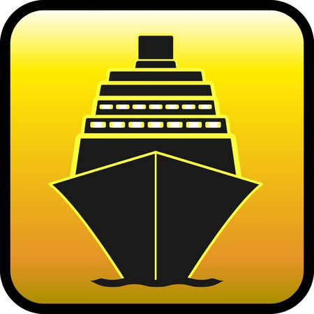 ocean liner: yellow glossy button with ship silhouette Illustration