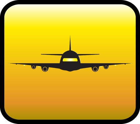 yellow glossy icon with plane silhouette Vector