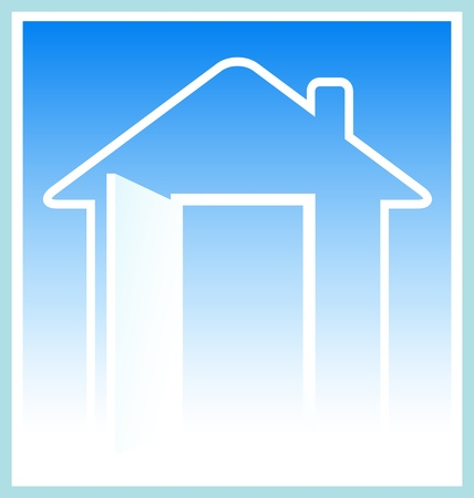 blue modern house silhouette with open door Stock Vector - 12333923