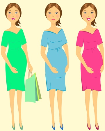 set colorful isolated emotional pregnant woman Stock Vector - 12333890