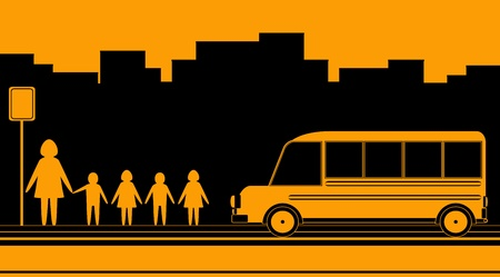 sign  childhood: urban background with woman, kids and school bus