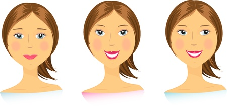 set beautiful emotional girls face Vector