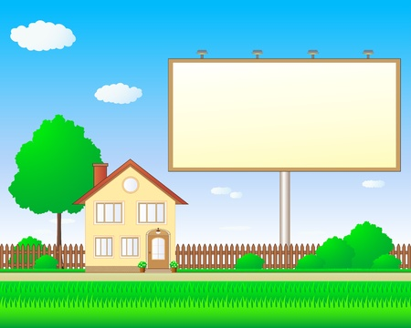 beautiful real estate with billboard and luxurious house Vector