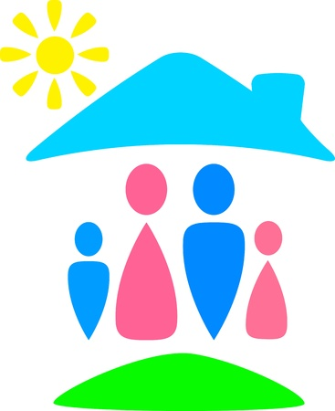 orphan: funny colorful sign with family silhouette