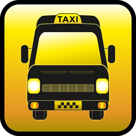 glossy icon, sign of cargo and passenger taxis Vector