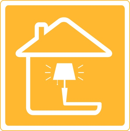 rood pictogram met lamp en huis silhouet