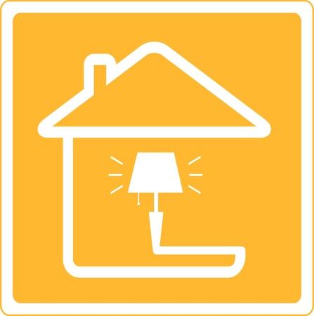 furnishing: rood pictogram met lamp en huis silhouet