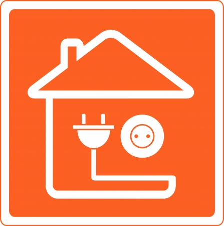 office appliances: red icon with house silhouette and socket with plug Illustration