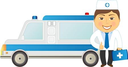 cartoon veterinarian doctor and car ambulance Vector