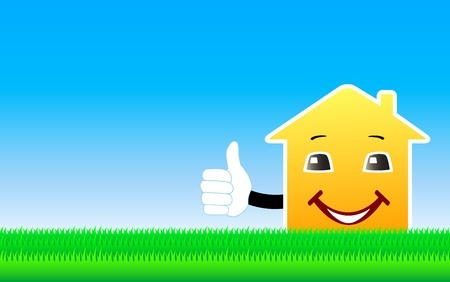 blue background with cartoon house showing thumb up and space for text Vector