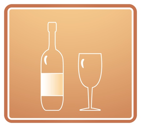 light sign with bottle and wineglass silhouette Stock Vector - 12489622