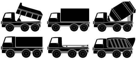 set black isolated construction transport silhouette Vector