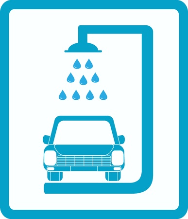 blue sign with car wash image Vector