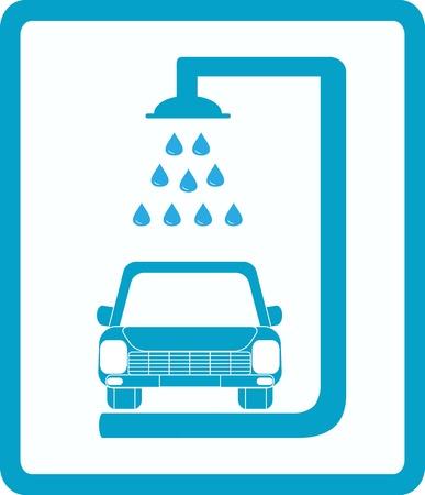 auto lavado: cartel azul con la imagen de lavado de coches Vectores