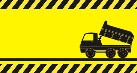 tipper: yellow background truck silhouette for transportation of bulk materials Illustration