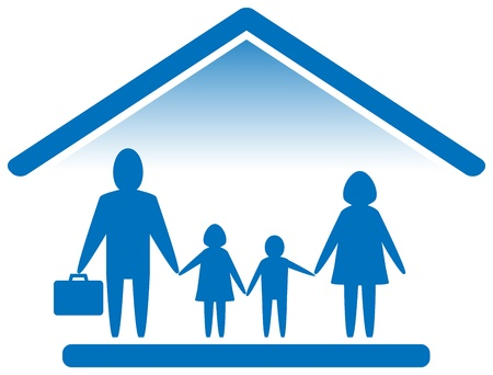 large house: blue sign with large family silhouette