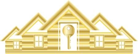 precedency: gold symbol with house and key isolated
