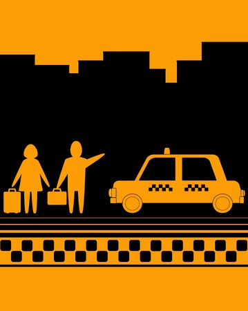 yellow background with man and woman on taxi stop Stock Vector - 12489624