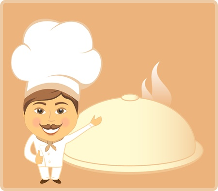 cooking ware: restaurant background with cartoon cook and dish