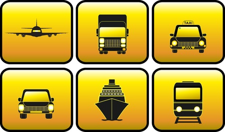set glossy icon with transport silhouette Vector