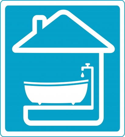 blue symbol with bathroom in house silhouette Vector