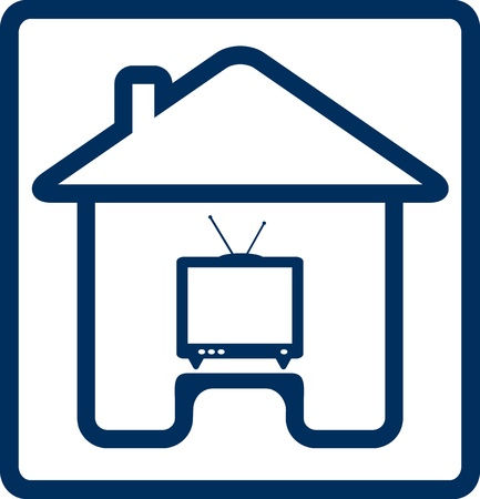 television aerial: blue icon with house and vintage TV silhouette Illustration