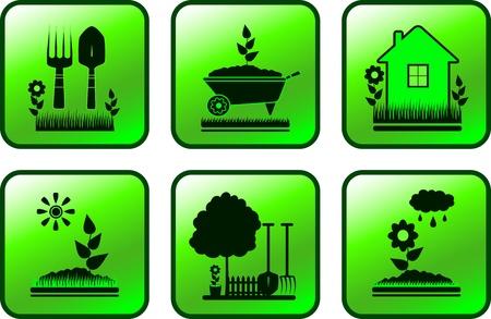 원예: 정원 개체와 녹색 광택 단추를 설정 일러스트