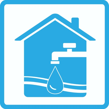 pure water sign with tap, house and wave silhouette Vector