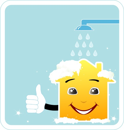 cleaning company sign with cartoon smile house thumb up and shower Vector