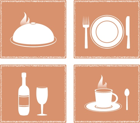 set napkin with restaurant objects - dish, bottle, wineglass, plate and cutlery Vector