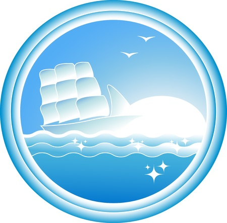 round sign with sailing ship on blue sea and sun Stock Vector - 12489688