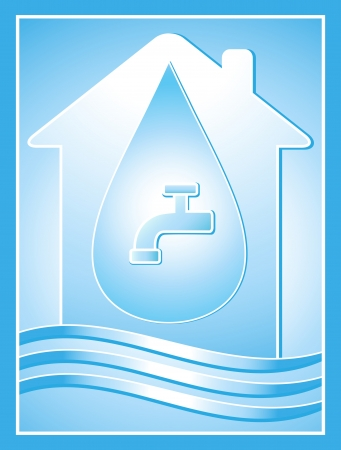 blue water symbol with house, drop and tap Vector