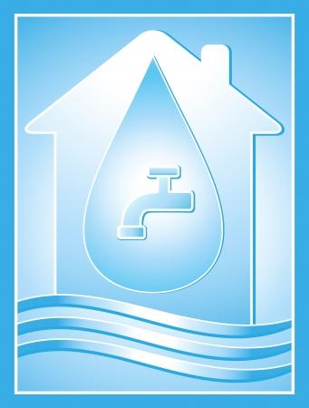 sanificazione: l'acqua simbolo blu con casa, drop e rubinetto