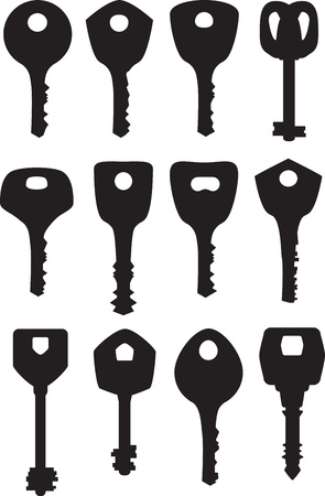 set isolated black key silhouette Vector