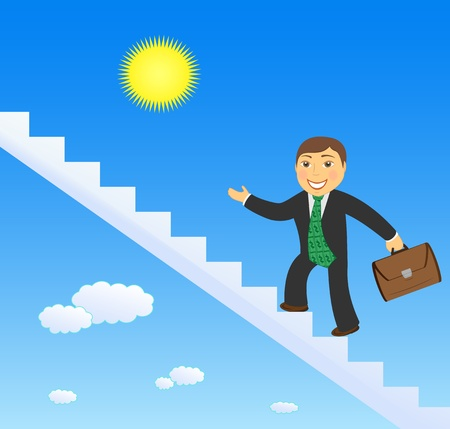 happy cartoon successful businessman climbing stairs up and invite Vector