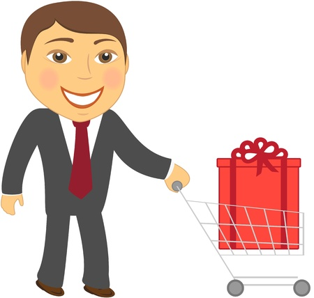 cute cartoon man and shopping cart with box Vector