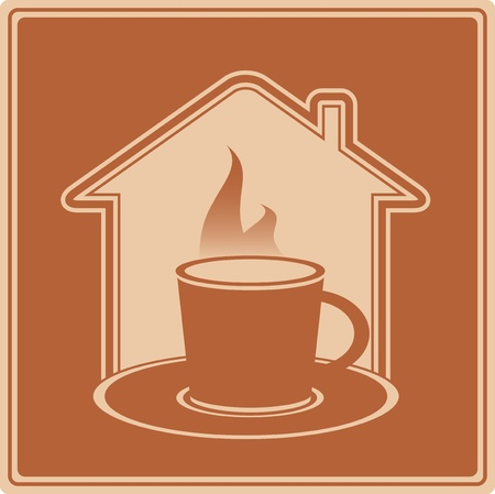 decaffeinated: brown icon with hot cup and house silhouette Illustration
