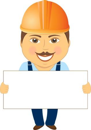 arquitecto caricatura: constructor de la historieta sonrisa con espacio para texto