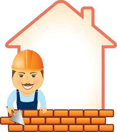 bricklayer: constructor de la historieta con una llana sonrisa, ladrillos y silueta casa