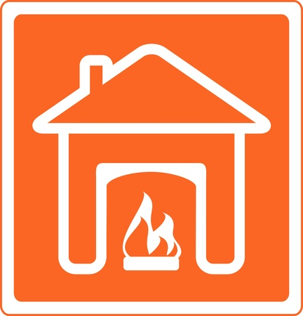 red sign of fireplace in house silhouette  symbol of hearth and home Vector