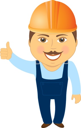 foreman: isolated builder smile and showing thumb up Illustration