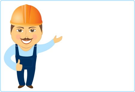workman: cheerful builder on white background showing thumb up and advertising Illustration