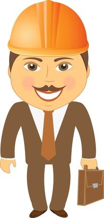 arquitecto caricatura: ingeniero civil, aislado con la cartera y un casco