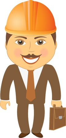 isolated civil engineer with portfolio and a helmet Stock Vector - 12800574