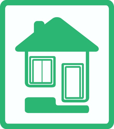 circuit sale: green icon with house, door and window silhouette Illustration