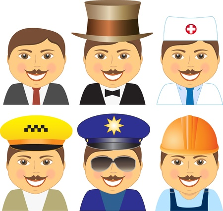 set cartoon isolated smiling mens with mustache different professions Vector