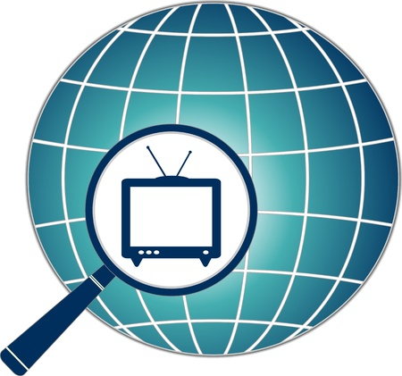 blue icon with TV in magnifier on planet silhouette Vector