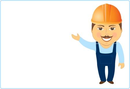 ingeniero caricatura: de dibujos animados que muestra aislada constructor y ofrece