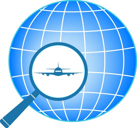 intercity: blue icon with plane in magnifier on planet background