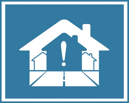 exclamation icon: blue symbol of real estate with houses and exclamation mark Illustration